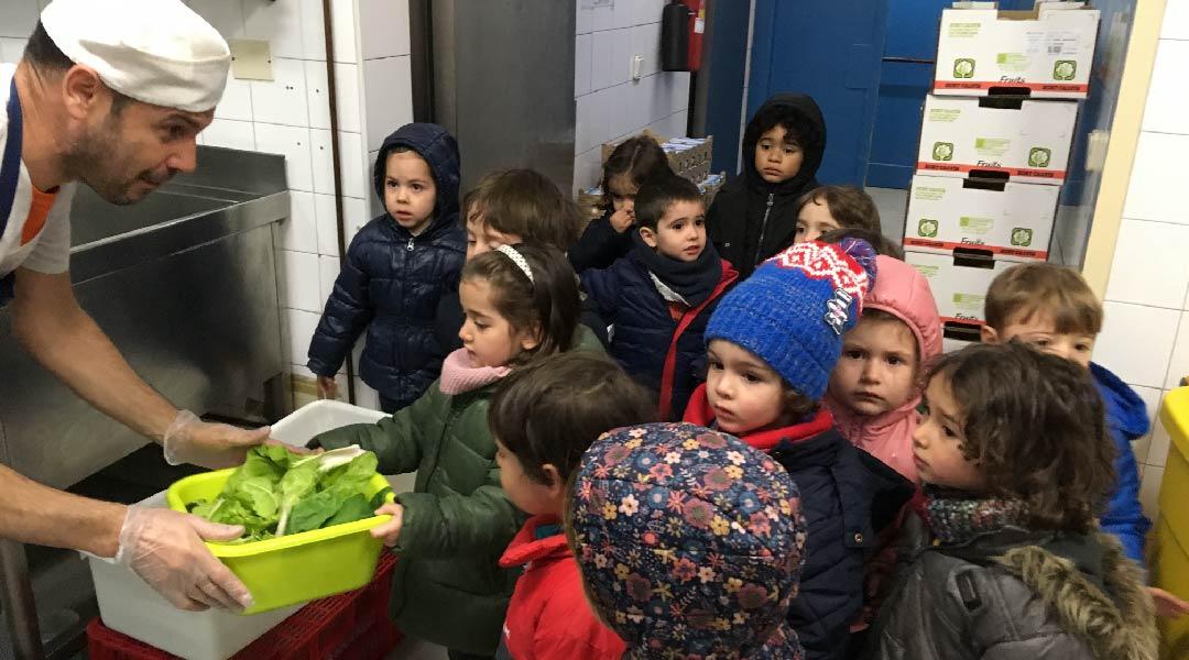Le damos las verduras a Andrés.