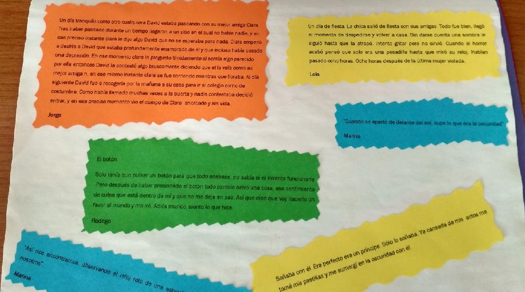 Combinación de microrrelatos escritos por los alumnos